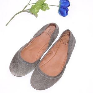LUCKY Brand Gray Leather and Suede Flats, Size 10